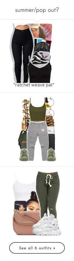 """summer/pop out"" by bad-sj ❤ liked on Polyvore featuring Hershey's, MCM, Vans, Glamorous, Carol's Daughter, Cantu, Topshop, adidas, MICHAEL Michael Kors and NIKE"