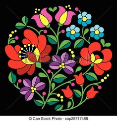 Vector - Kalocsai embroidery - Hungarian - stock illustration, royalty free illustrations, stock clip art icon, stock clipart icons, logo, line art, EPS picture, pictures, graphic, graphics, drawing, drawings, vector image, artwork, EPS vector art