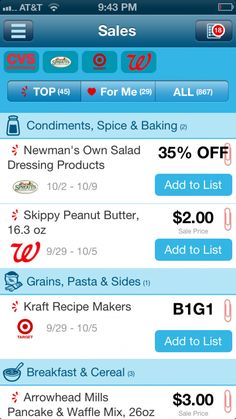 This app is amazing!  Find your local stores and use it to match coupons with the best deals each week.  Saves SO much time and money!
