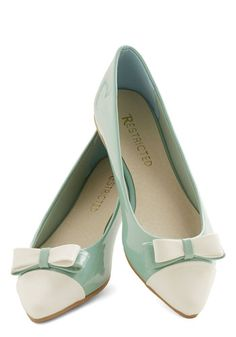 Everyday Elation Flat by Restricted - Flat, Mint, Tan / Cream, Solid, Bows, Work, Colorblocking, Darling, Good, Spring, Pastel