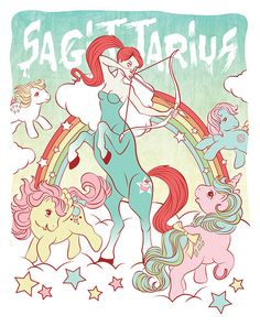 My Little Pony Zodiac Art Print | Sagittarius Illustration | Astrology Cartoon | The Signs | 80s