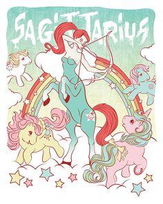 My Little Pony Zodiac Art Print   Sagittarius Illustration   Astrology Cartoon   The Signs   80s