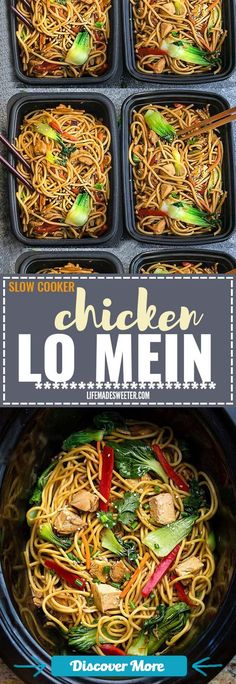 Crock pot Slow Cooker Chicken Lo Mein makes the perfect easy Asian-inspired weeknight meal and perfect for your weekly meal prep as lunch bowls for work or school. Best of all takes only 15 minutes to put together with the most authentic flavors! So delicious and way better than any Chinese takeout! Leftovers make delicious school or work lunches or dinner the next day! #slowcooker #slowcook #slowcookerrecipes #slowcookerchicken