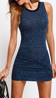 Blue Sleeveless Knot Bodycon Dress. Cute and simple. Two colors at shein.com.