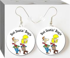 Boot Scootin' Boogie Button Charm Earrings