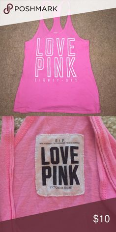 PINK distressed tank top Loose fitting distressed style racer back tank PINK Victoria's Secret Tops Tank Tops