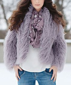 Look what I found on #zulily! Lavender Faux Fur Fashionista Jacket - Plus Too #zulilyfinds