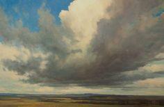 Cloudscape over landscape. Cloudscape  Cloud and Sky oil painting