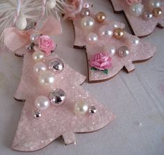 If you are dreaming of a pink Christmas and are decorating a pretty pink tree...here is cute set of 2 mini tree ornaments. Painted a cottage pink and