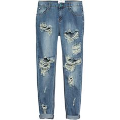One Teaspoon Awesome Baggies Dusty Loose cut destroyed jeans ($205) ❤ liked on Polyvore featuring jeans, pants, bottoms, blue jeans, destructed jeans, ripped blue jeans, one teaspoon jeans and loose fit jeans