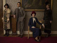 downton abbey season 5: Mabel Lane Fox, Charles Blake, Lady Mary Crawley and Lady Rosamund Painswick