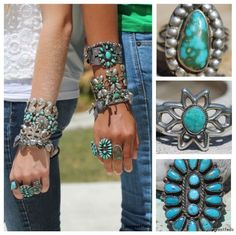 Turquoise bracelets and rings....stack 'em, Collect 'em, Love 'em. http://stores.ebay.com/yourgreatfinds-vintage-jewelry