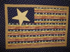 Your place to buy and sell all things handmade American Flag Quilt, Quilted Wall Hangings, Table Toppers, Gold Stars, A Table, Bohemian Rug, Cotton Fabric, Miniatures, Stripes
