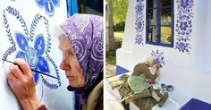 90-Year-Old Czech Grandma Turns Small Village Into Her Art Gallery By Hand-Painting Flowers On Its Houses | Bored Panda