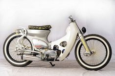 cafe cub - Google Search Custom Bobber, Custom Bikes, Honda Motorcycles, Cars And Motorcycles, Riders On The Storm, Honda Cub, Moped Scooter, Motor Scooters, Mini Bike