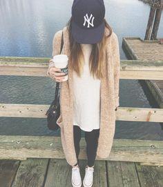 ny baseball cap + long aritzia sweater | women's fashion | instagram: kristeneil