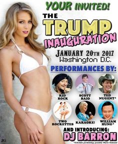 Guy Creates Trump Inauguration Flyer We Should All Start Passing Out | The Huffington Post  LOL and his tramp wife the new first lady can do a pole dance & give free head to his guests!