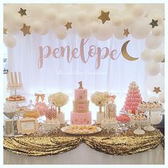 Sequin rose gold Birthday Dessert Table / CAKE STANDS BY OPULENT TREASURES #birthdaypartyideas #girlsbirthday