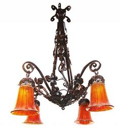 French Art Deco Wrought Iron Chandelier Bright Amber Shades | Modernism