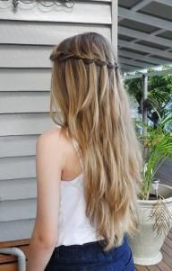 Gorgeous Waterfall Braid cute to do with loosely curled hair also good for a bridesmaid at a wedding.