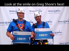 June 20, 2014 Greg Shore and Greg Baxter repel down City Centre South Tower to raise money for Make A Wish Foundation.