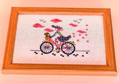Framed hand embroidery wall art Pretty girl on a bicycle Ready to hang bicyclist gift Teen daughter room decor hanging Finished cross stitch Pink Clouds, Gifts For Teens, Embroidery Techniques, Little Gifts, Etsy Handmade, Pretty Girls, Hand Embroidery, Cross Stitch, Bicycle