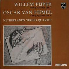 "1956 Netherlands String Quartet - Willem Pijper: String Quartet No. 5; Oscar Van Hemel: String Quartet No. 4 (10"" Vinyl) [Philips A 00795 R] original artworks: M.C. Escher - Drawing Hands (1948) #albumcover"