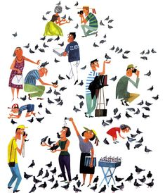 Nice olde illustration of people and pigeons Art And Illustration, People Illustration, Illustrations Posters, Vintage Posters, Vintage Art, Retro Art, Art Beauté, Modern Graphic Design, Looks Cool