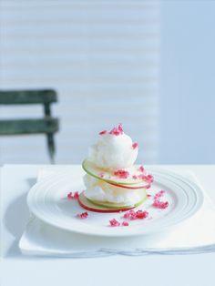 sorbet and raspberry-sugar apple