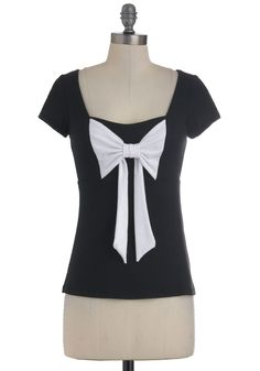 Dear to Me Top - Black, White, Bows, Casual, Cap Sleeves, Mid-length, Solid, Top Rated