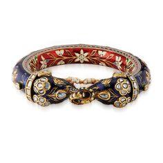Saffronart Fine Jewels and Silver, A PERIOD DIAMOND AND ENAMEL `KADA` BANGLE