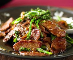 Very thinly sliced lamb works best for this delicious Mongolian stir-fry by Woman's Day. Freeze it almost all of the way, then use a super sharp knife to slice the pieces before using.