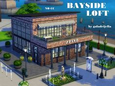 This old shoe factory has been turned certainly into super hipster loft for a couple without kids or for a lone artist. It has one bedroom area, bathroom and very spacious bottom floor with sitting. Sims 2 House, Sims 4 House Building, Sims 4 House Design, Sims 4 Restaurant, Restaurant Floor Plan, The Sims 4 Lots, Sims 4 Tsr, Sims Freeplay Houses, Hipster Home