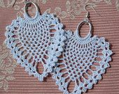 Crochet earring -Large crochet earring -Crochet earring jewelry- Pinneaple white color