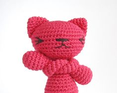 Inspiration....Colorful toy cat - Many color options - Stuffed toy - Crochet - Amigurumi animal - Cotton - Bright pink