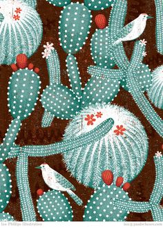 ian phillips illustration - cactus and birds Illustration Cactus, Pattern Illustration, Graphic Illustration, Graphic Art, Textures Patterns, Print Patterns, Decoupage, Cactus Art, Motif Floral