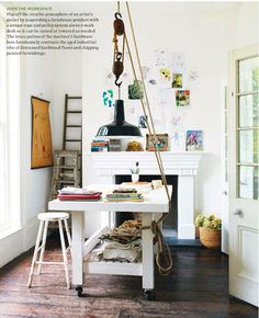 Very original way to hang a lamp. I imagine this may get in the way of activity. #decor #furniture #contemporary  Photograph courtesy of A Space of My Own by Caroline Clifton-Mogg, 2011  via House and Home (provided by Ryland Peters & Small)