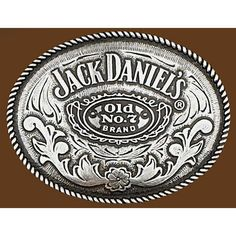 "Western Express vintage tone pewter Jack Daniels licensed Old No 7 Brand artwork. Made for belts 2.5 - 3"" wide. Dimensions: 3.25"" H x 4"" W x .5"" D"