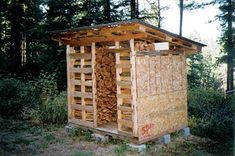 Wood pallets can be used to construct a firewood drying and storage shed.