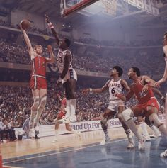 Bill Walton, Darryl Dawkins, Julius Erving 1977