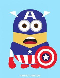 Minions como superhéroes: Capitán América.