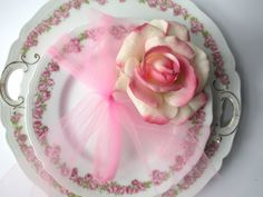 Vintage Vienna Austria Pink Green Floral Cake Plate by jenscloset