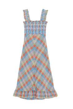 Rent SEERSUCKER CHECK MAXI DRESS - Ganni | HURR Maxi Dresses Uk, Fashion Dresses, Seersucker Dress, Check Dress, Girl Fashion, Fashion Design, Baby Clothes Shops, Dream Dress