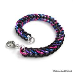 Chainmaille half Persian 3 in 1 bi pride bracelet