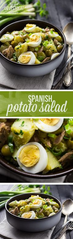 Doesn't this spanish potato salad look scrumptious? Winter is ever so slowly on its way out and with spring just around the corner this dish will be a regul (Spanish Food Recipes) Spanish Salad, Spanish Potatoes, Potato Salad With Egg, Mexican Food Recipes, Ethnic Recipes, Spanish Food Recipes, Spanish Cuisine, Cooking Recipes, Healthy Recipes
