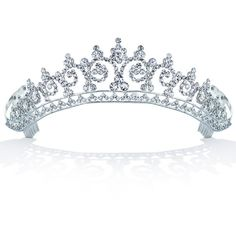 Bling Jewelry Royal Inspired Tiara Comb ($30) ❤ liked on Polyvore featuring jewelry, tiara, hair accessories, accessories, crowns, clear, fashion-headbands, silver plated jewelry, crown jewelry and clear crystal jewelry