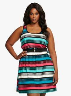 Multi-Colored Striped Tank Dress (Torrid)  Looks comfy & bright!