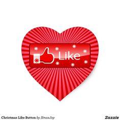 Christmas Like Button Heart Sticker