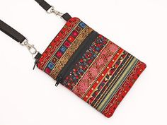 Small Travel Bag, Cell Phone Case Crossbody, Smartphone Sling Pouch, Galaxy Purse, iPhone 6,5 Zipper Shoulder Bag - red bohemian stripes Features: