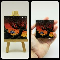 'The Whomping Willow' Miniature acrylic painting on inch canvas by Phunky Paradox! Harry Potter Canvas, Harry Potter Painting, Harry Potter Artwork, Harry Potter Drawings, Harry Potter Decor, Small Canvas Paintings, Small Canvas Art, Mini Canvas Art, Acrylic Painting Canvas